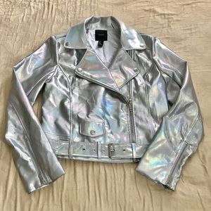 Forever 21 Iridescent Faux Leather Moto Jacket